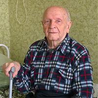 Елисей Данилович Шипулин в палате госпиталя для ветеранов войн.